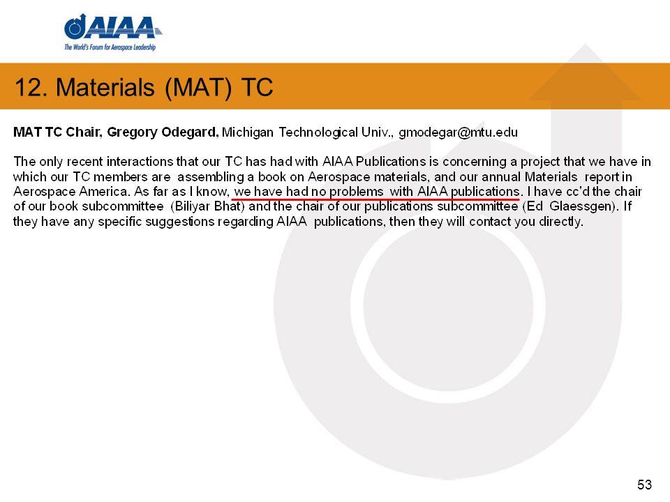 53 12. Materials (MAT) TC