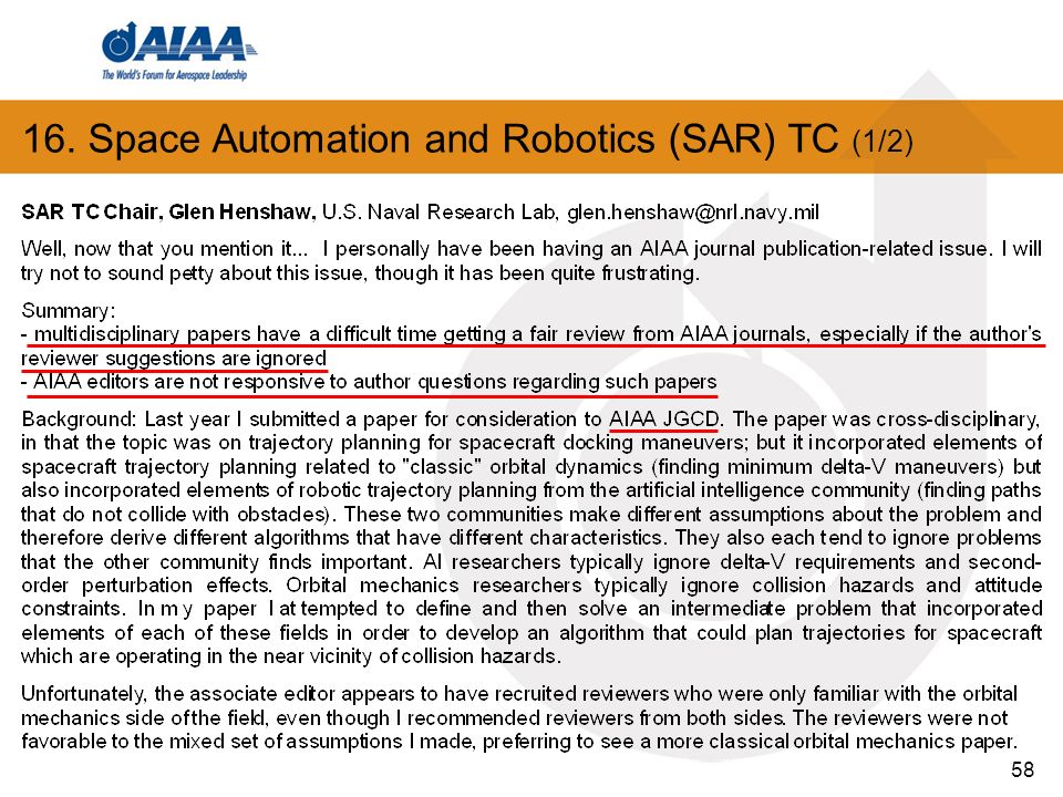 58 16. Space Automation and Robotics (SAR) TC (1/2)