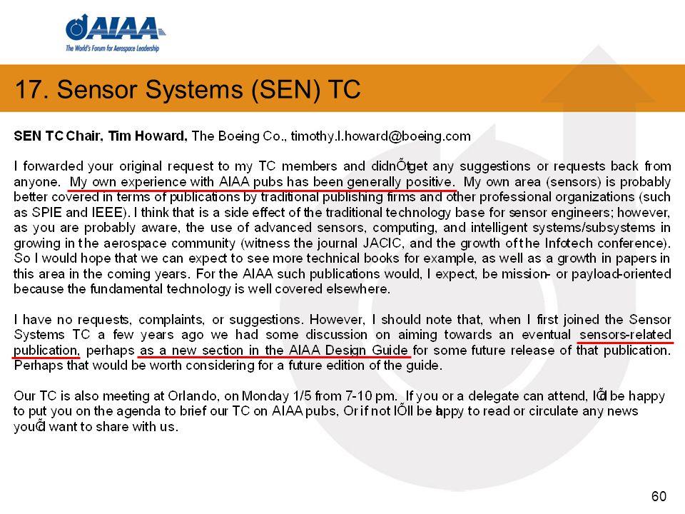 60 17. Sensor Systems (SEN) TC
