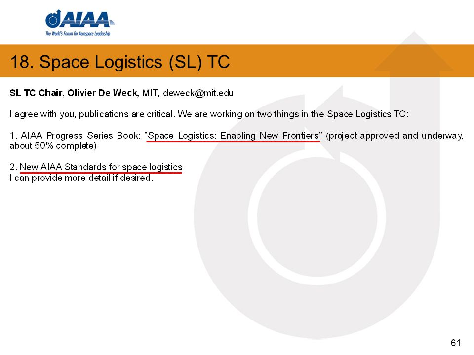 61 18. Space Logistics (SL) TC