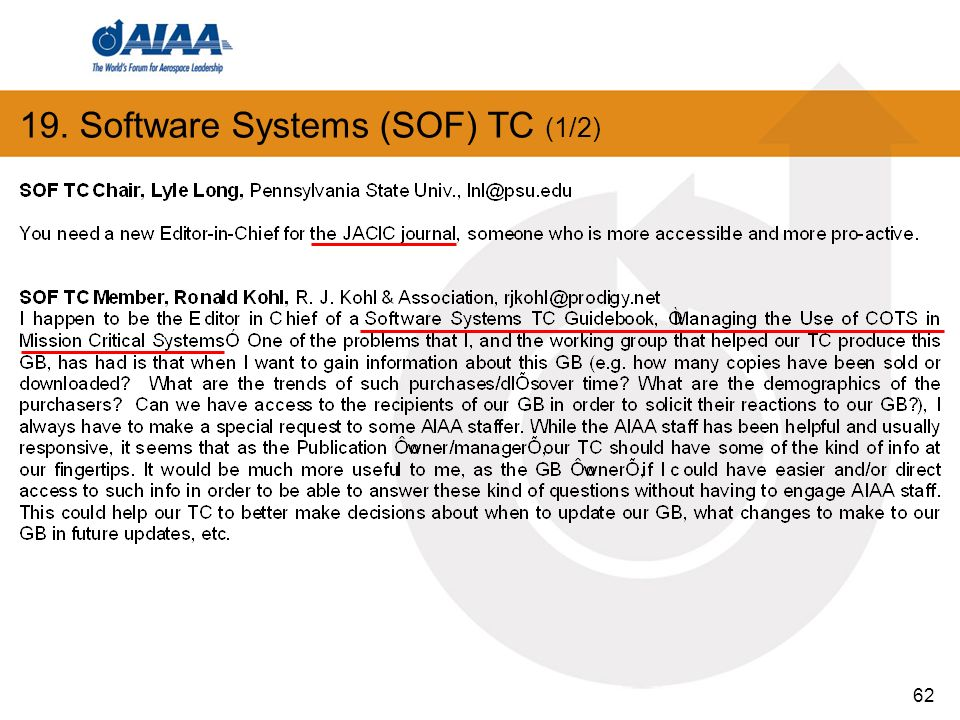 62 19. Software Systems (SOF) TC (1/2)
