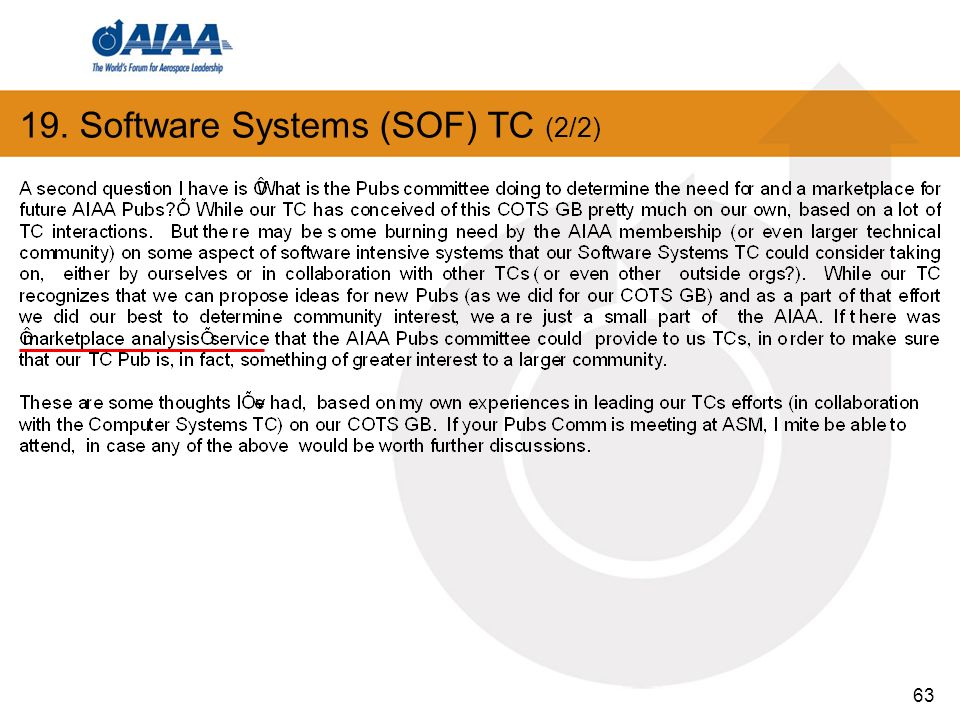 63 19. Software Systems (SOF) TC (2/2)