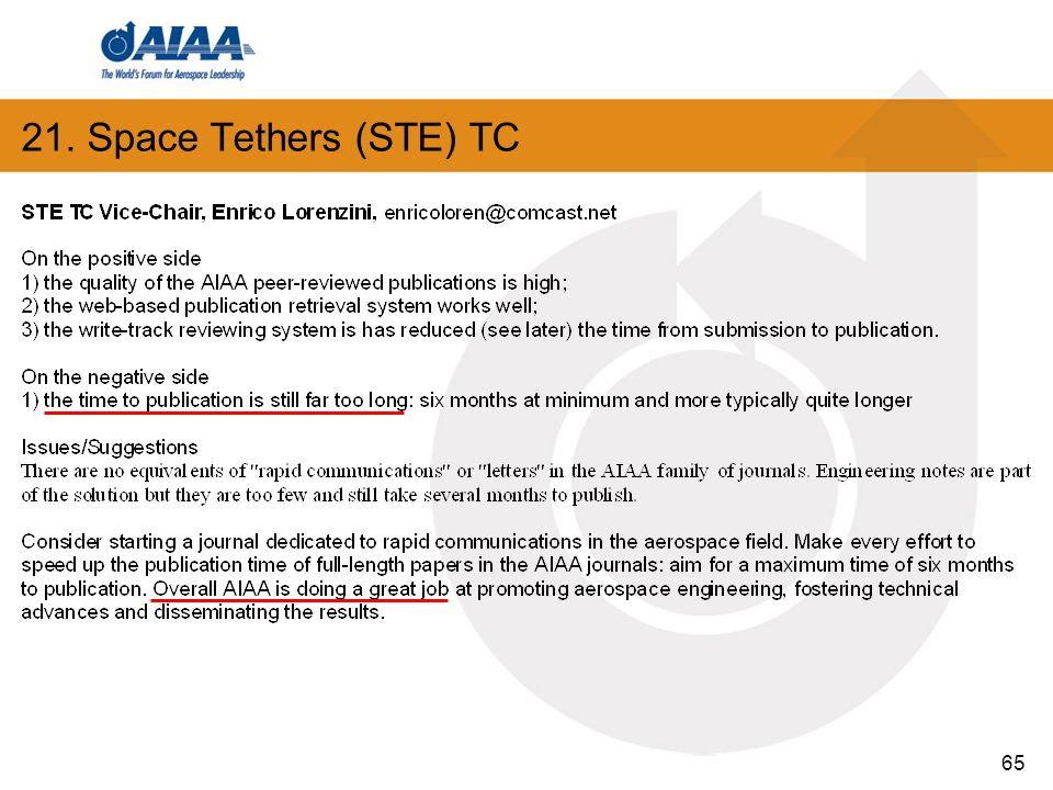 65 21. Space Tethers (STE) TC
