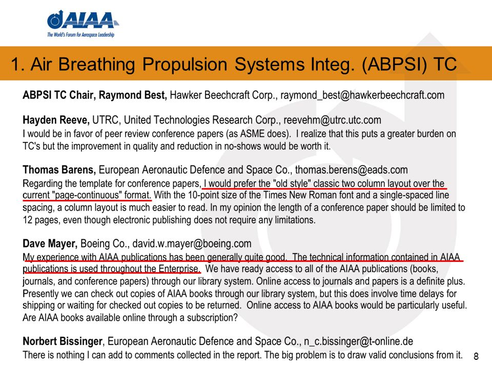 8 1. Air Breathing Propulsion Systems Integ. (ABPSI) TC