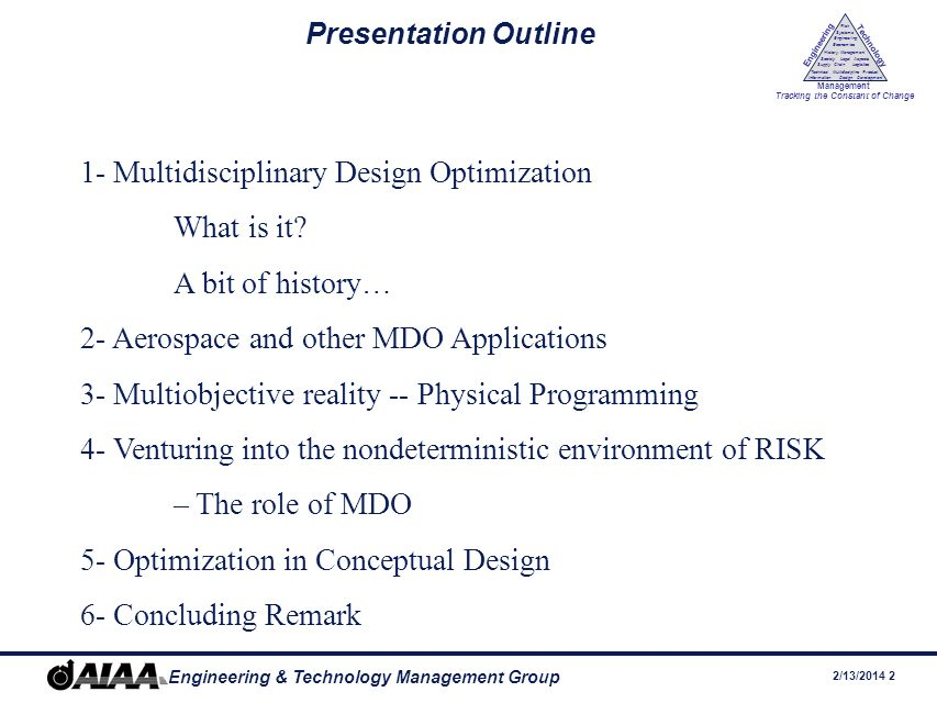 2/13/ Engineering & Technology Management Group Engineering Technology Management Tracking the Constant of Change Management History Society Legal Aspects LogisticsSupply Chain Systems Engineering Economics Risk Technical Information Multidiscipline Design Product Development Presentation Outline 1- Multidisciplinary Design Optimization What is it.