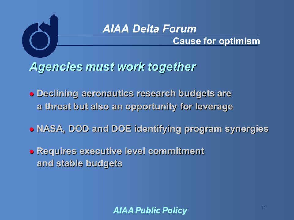 11 AIAA Delta Forum AIAA Public Policy Cause for optimism Agencies must work together Declining aeronautics research budgets are Declining aeronautics research budgets are a threat but also an opportunity for leverage a threat but also an opportunity for leverage NASA, DOD and DOE identifying program synergies NASA, DOD and DOE identifying program synergies Requires executive level commitment Requires executive level commitment and stable budgets and stable budgets