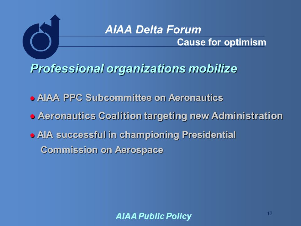 12 AIAA Delta Forum AIAA Public Policy Cause for optimism Professional organizations mobilize AIAA PPC Subcommittee on Aeronautics AIAA PPC Subcommittee on Aeronautics Aeronautics Coalition targeting new Administration Aeronautics Coalition targeting new Administration AIA successful in championing Presidential AIA successful in championing Presidential Commission on Aerospace Commission on Aerospace