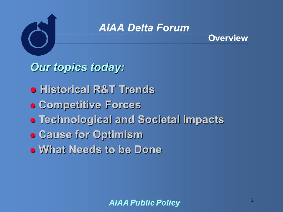 2 AIAA Delta Forum AIAA Public Policy Overview Our topics today: Historical R&T Trends Historical R&T Trends Competitive Forces Competitive Forces Technological and Societal Impacts Technological and Societal Impacts Cause for Optimism Cause for Optimism What Needs to be Done What Needs to be Done