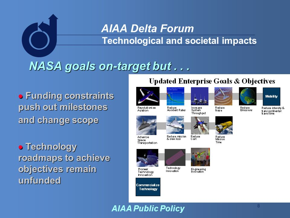 8 AIAA Delta Forum AIAA Public Policy Technological and societal impacts NASA goals on-target but...