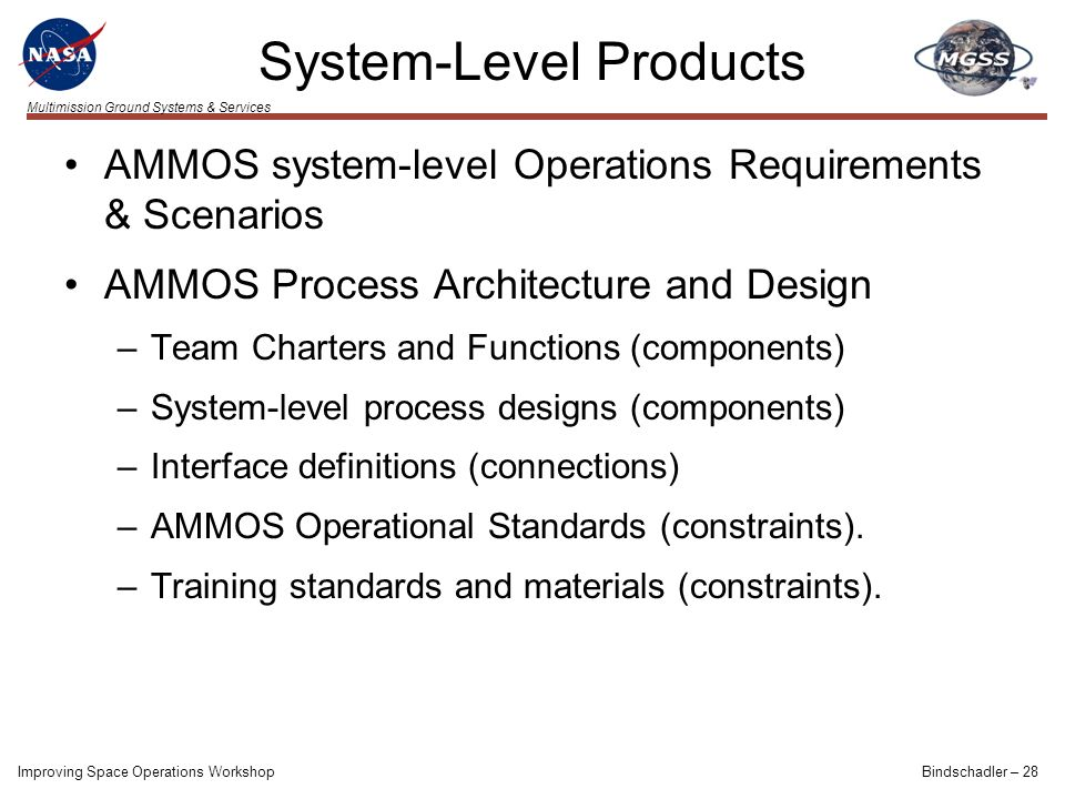 Multimission Ground Systems & Services System-Level Products AMMOS system-level Operations Requirements & Scenarios AMMOS Process Architecture and Des