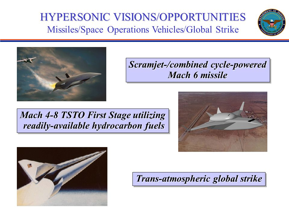 HYPERSONIC VISIONS/OPPORTUNITIES Missiles/Space Operations Vehicles/Global Strike Scramjet-/combined cycle-powered Mach 6 missile Scramjet-/combined cycle-powered Mach 6 missile Mach 4-8 TSTO First Stage utilizing readily-available hydrocarbon fuels readily-available hydrocarbon fuels Mach 4-8 TSTO First Stage utilizing readily-available hydrocarbon fuels readily-available hydrocarbon fuels Trans-atmospheric global strike