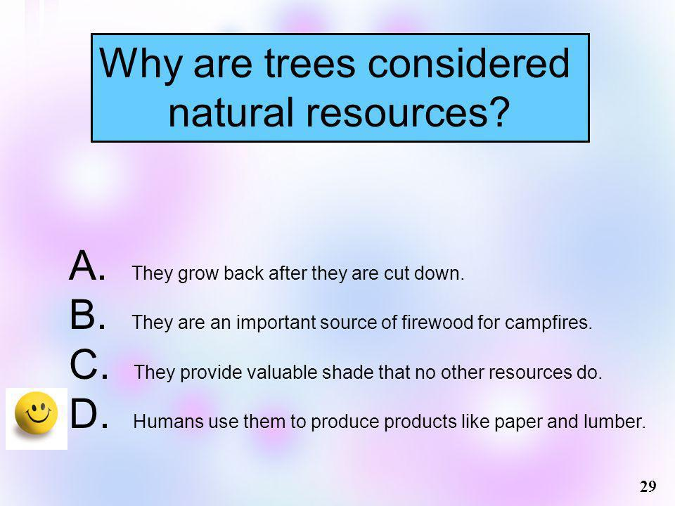 Why are trees considered natural resources? 29 A. They grow back after they are cut down. B. They are an important source of firewood for campfires. C