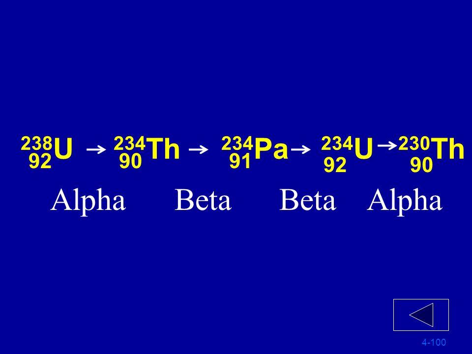 238 U 234 Th 234 Pa 234 U 230 Th 4-100 90 91 9092
