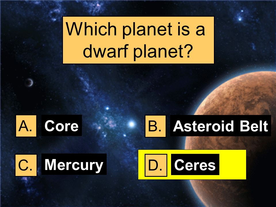 Which planet is a dwarf planet? A. B. C.D. Core Asteroid Belt Mercury Ceres