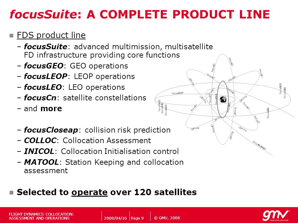 © GMV, 2008 focusSuite: A COMPLETE PRODUCT LINE FDS product line –focusSuite: advanced multimission, multisatellite FD infrastructure providing core f