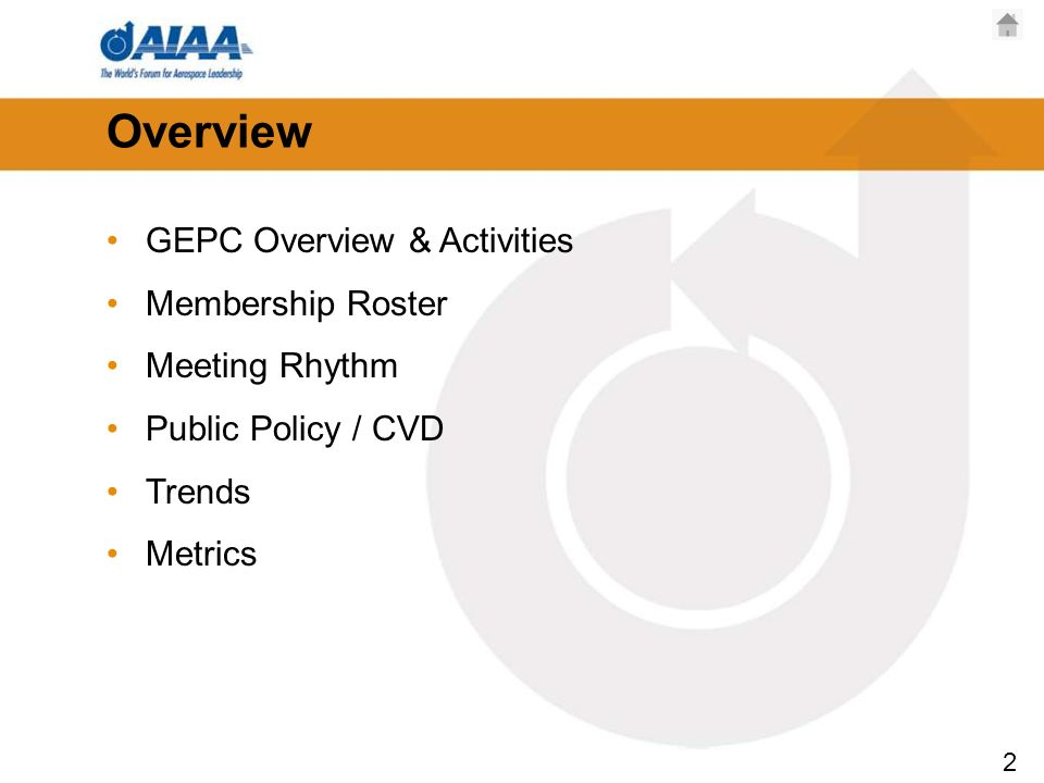 2 Overview GEPC Overview & Activities Membership Roster Meeting Rhythm Public Policy / CVD Trends Metrics