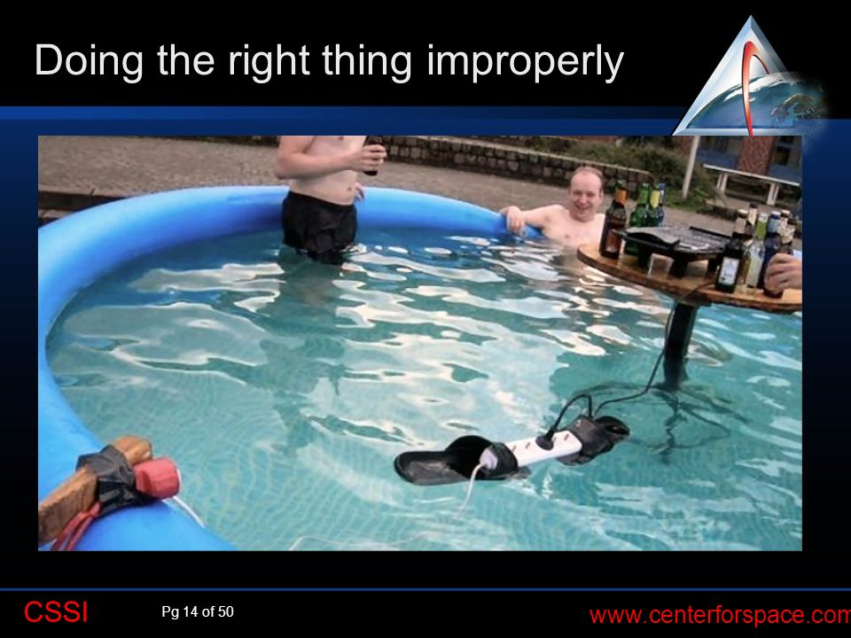 Pg 14 of 50 www.centerforspace.com CSSI Desired outcome Grill some burgers at pool party Doing the right thing improperly Chosen Approach Could lead t