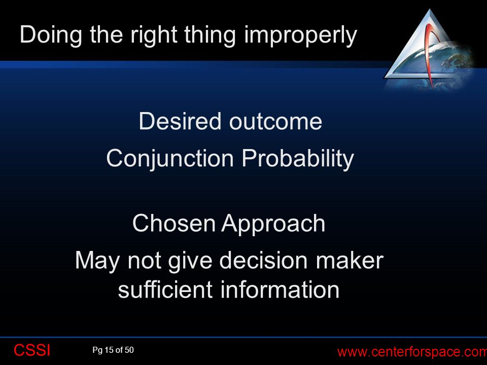 Pg 15 of 50 www.centerforspace.com CSSI Desired outcome Conjunction Probability Doing the right thing improperly Chosen Approach May not give decision