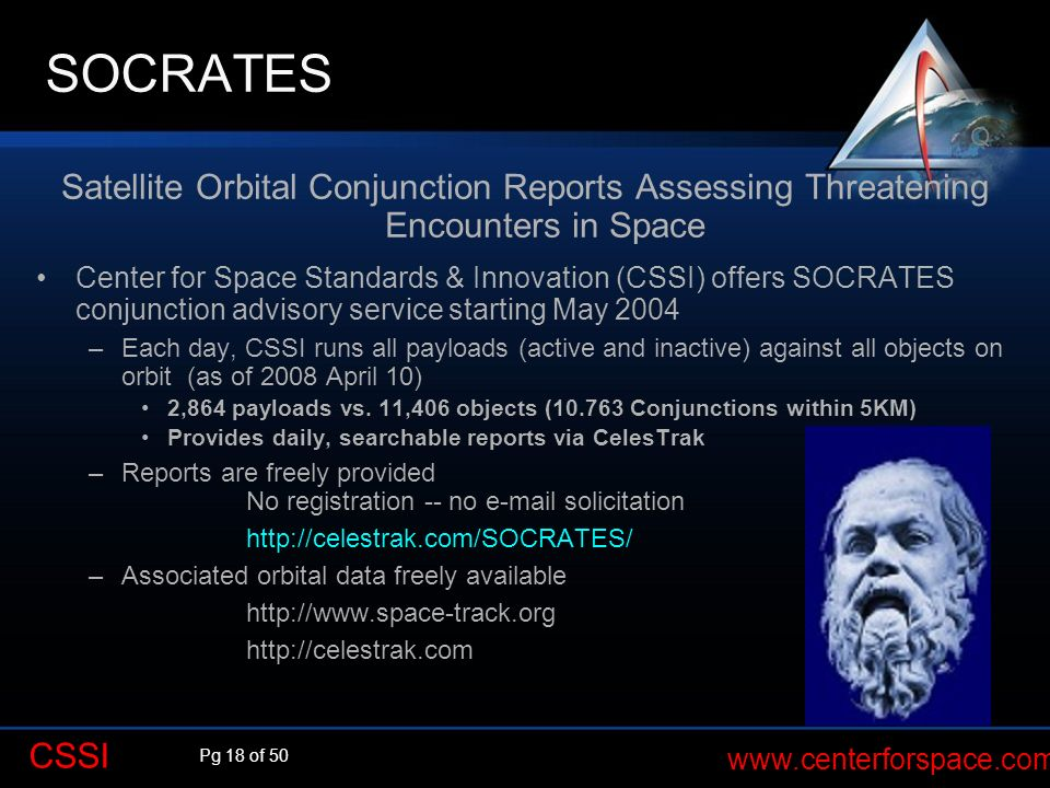 Pg 18 of 50 www.centerforspace.com CSSI Satellite Orbital Conjunction Reports Assessing Threatening Encounters in Space Center for Space Standards & I
