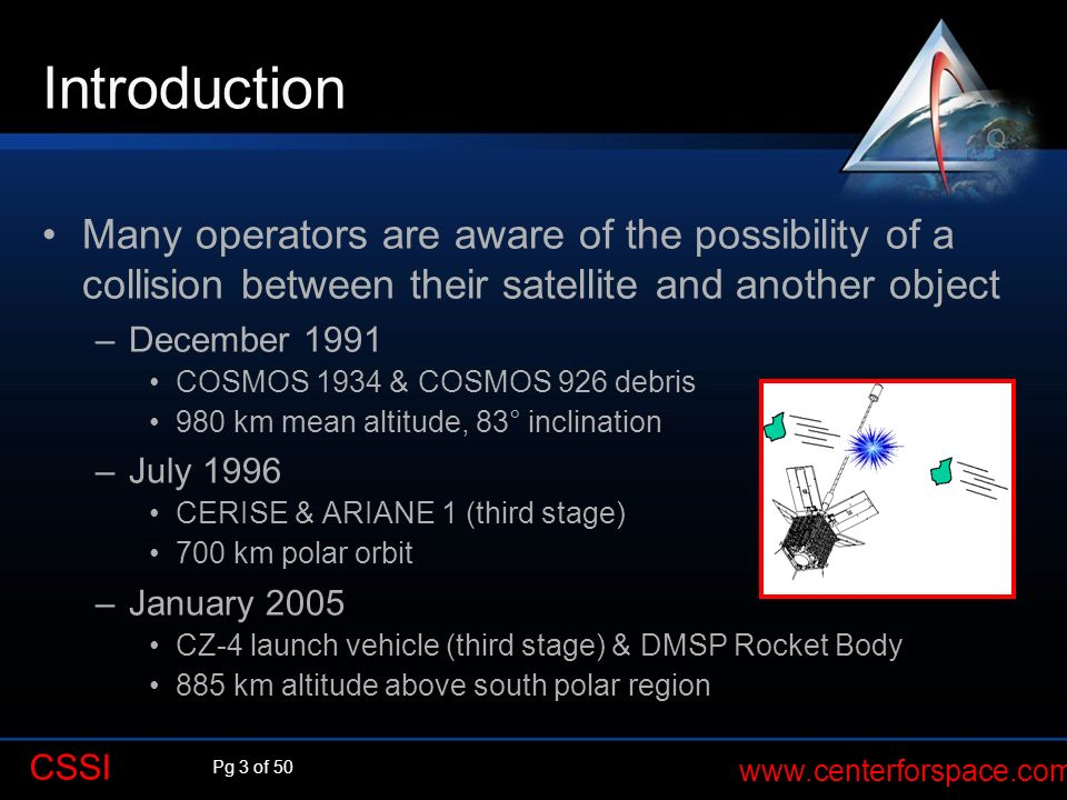 Pg 3 of 50 www.centerforspace.com CSSI Introduction Many operators are aware of the possibility of a collision between their satellite and another obj