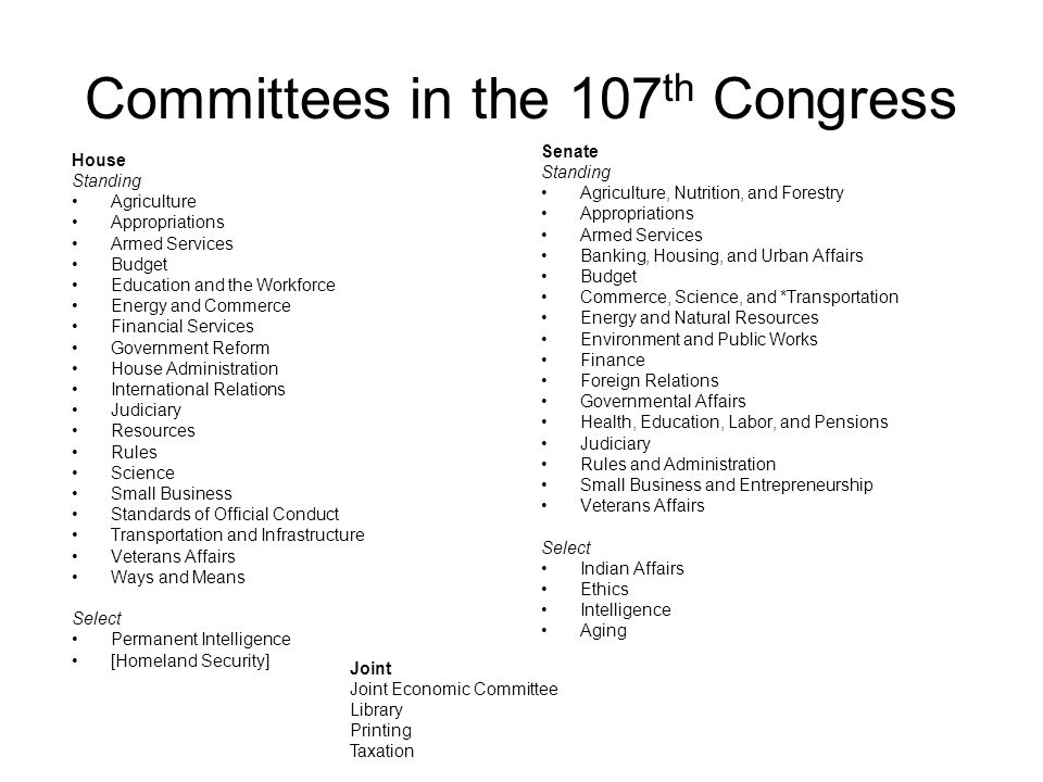 Committees in the 107 th Congress House Standing Agriculture Appropriations Armed Services Budget Education and the Workforce Energy and Commerce Fina
