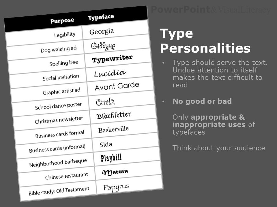 PowerPoint &VisualLiteracy Type Personalities Type should serve the text. Undue attention to itself makes the text difficult to read No good or bad On