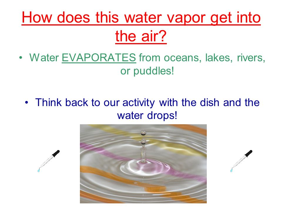 How does this water vapor get into the air? Water EVAPORATES from oceans, lakes, rivers, or puddles! Think back to our activity with the dish and the