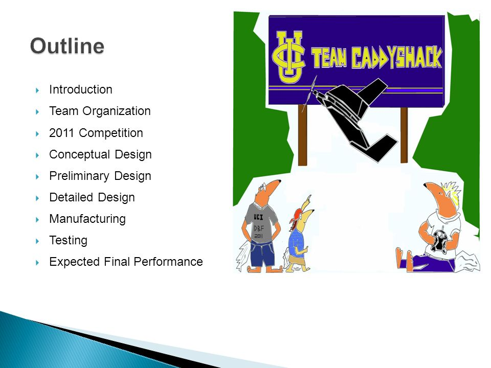 Introduction Team Organization 2011 Competition Conceptual Design Preliminary Design Detailed Design Manufacturing Testing Expected Final Performance