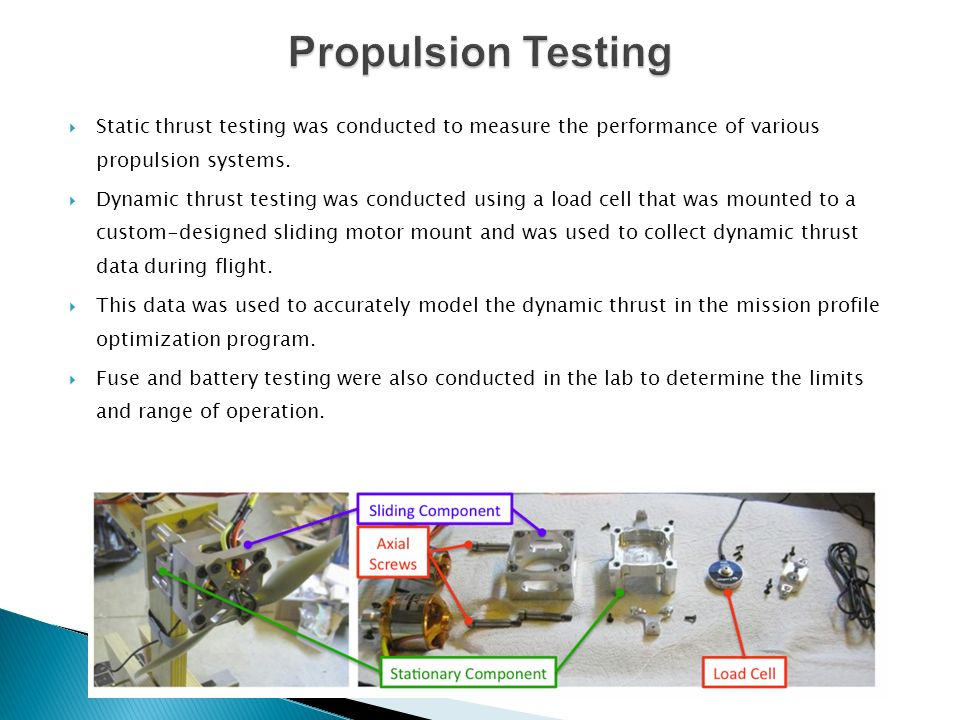Static thrust testing was conducted to measure the performance of various propulsion systems. Dynamic thrust testing was conducted using a load cell t