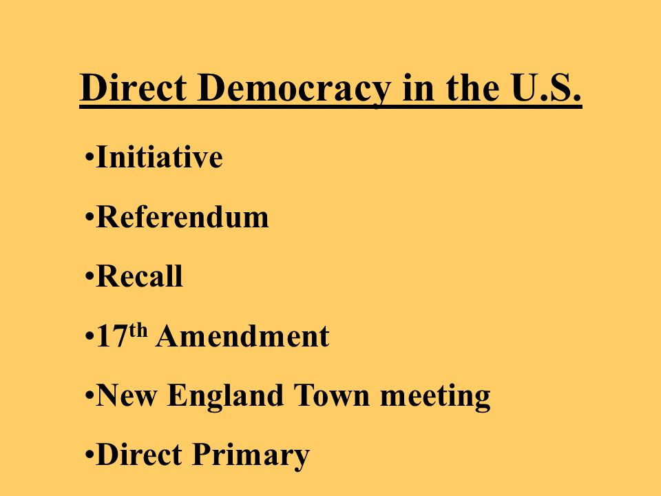 Direct Democracy in the U.S.