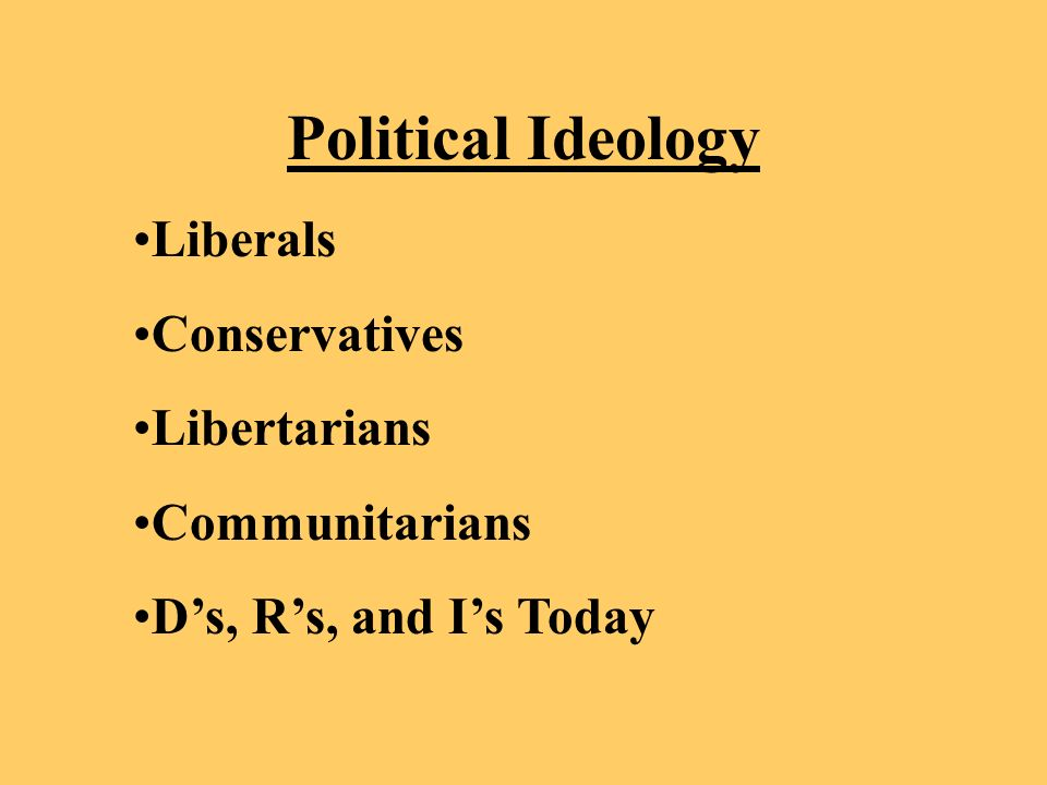 Political Ideology Liberals Conservatives Libertarians Communitarians Ds, Rs, and Is Today