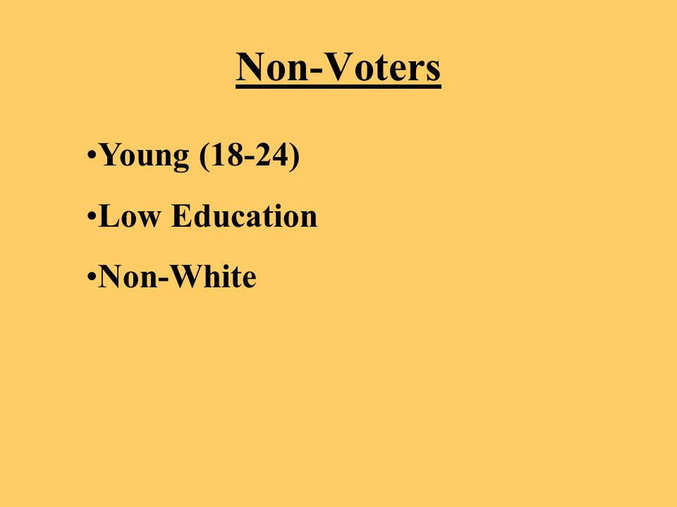 Non-Voters Young (18-24) Low Education Non-White
