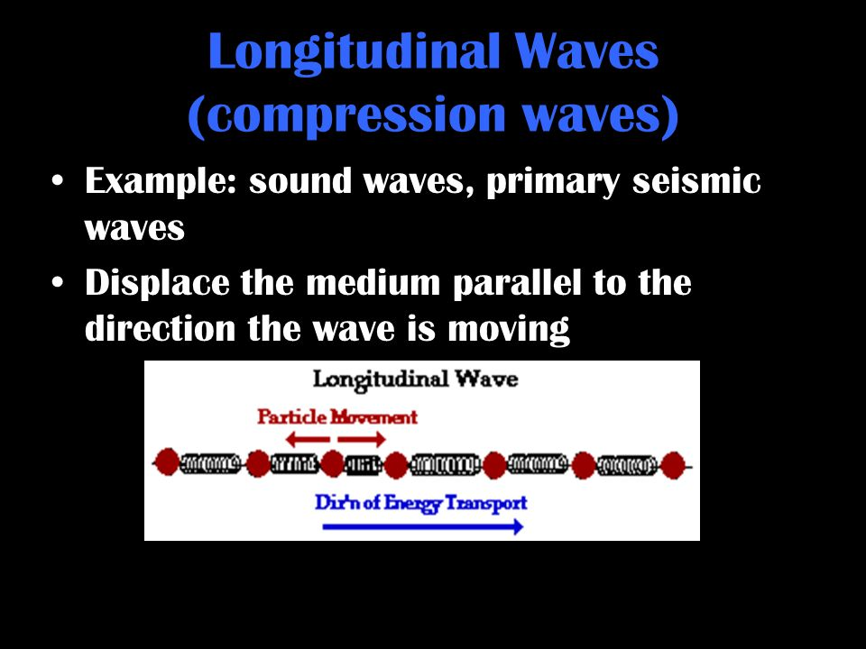 Longitudinal Waves (compression waves) Example: sound waves, primary seismic waves Displace the medium parallel to the direction the wave is moving ht