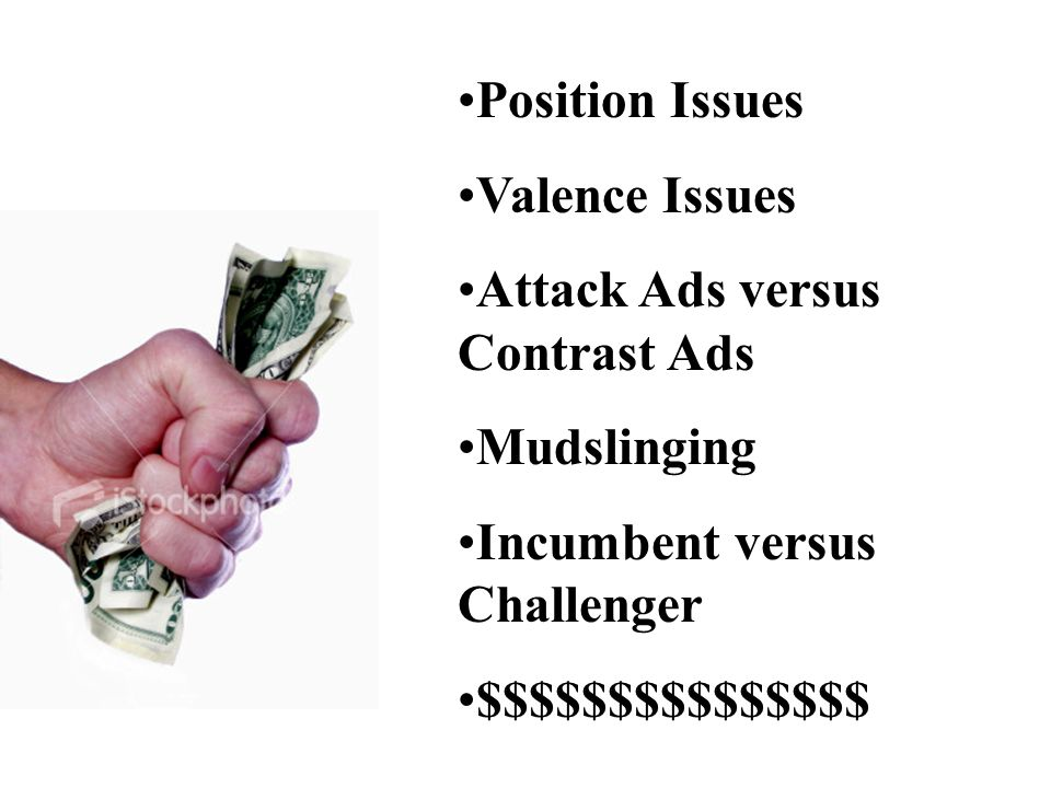 Position Issues Valence Issues Attack Ads versus Contrast Ads Mudslinging Incumbent versus Challenger $$$$$$$$$$$$$$$
