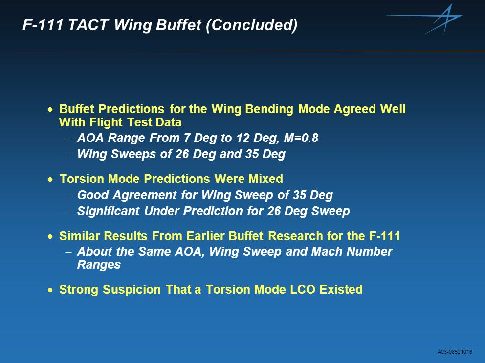 F-111 TACT Wing Buffet (Concluded) Buffet Predictions for the Wing Bending Mode Agreed Well With Flight Test Data AOA Range From 7 Deg to 12 Deg, M=0.