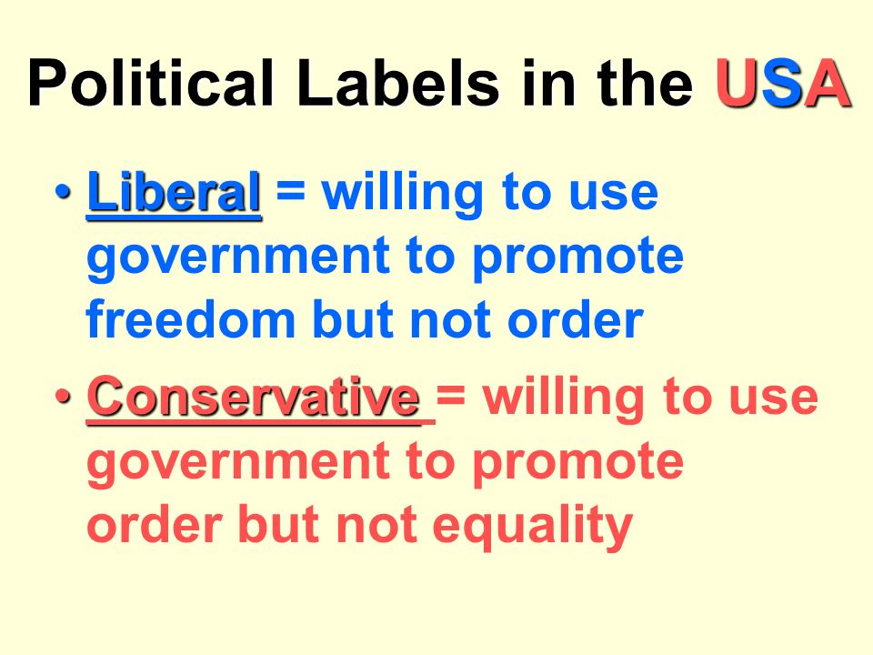 Liberal* in USAConservative* in USA Liberal* in USAConservative* in USA -wants a more-wants govt to limit activist govt.