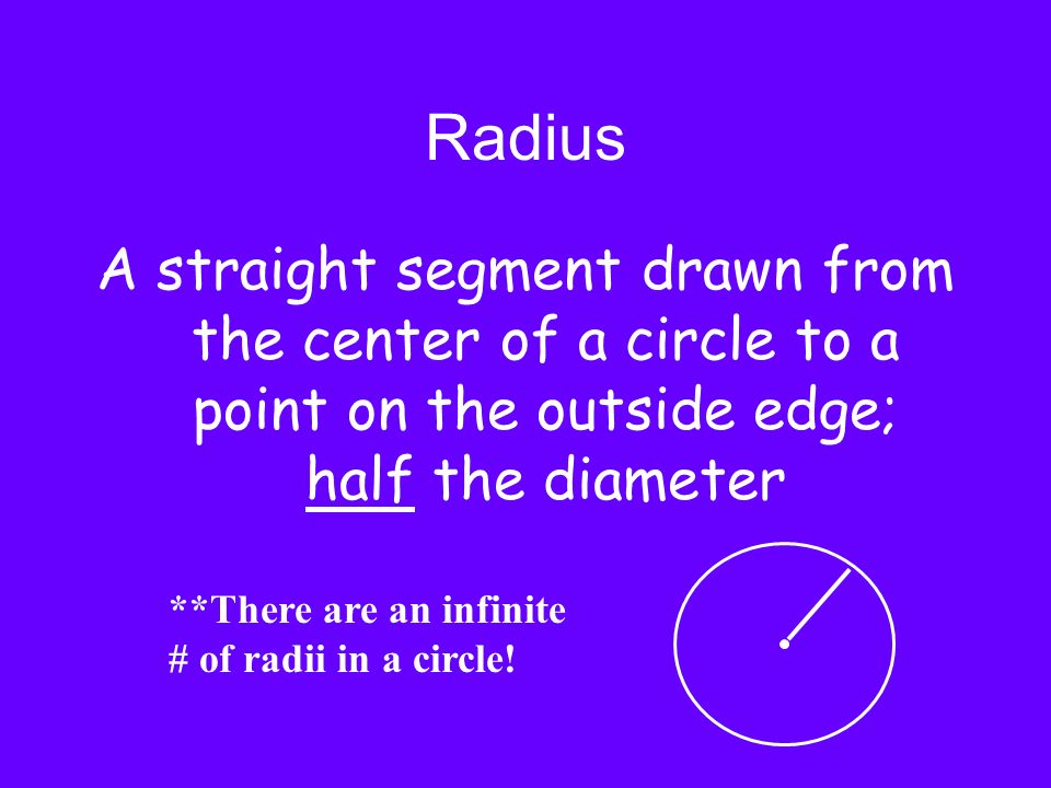 Radius A straight segment drawn from the center of a circle to a point on the outside edge; half the diameter **There are an infinite # of radii in a