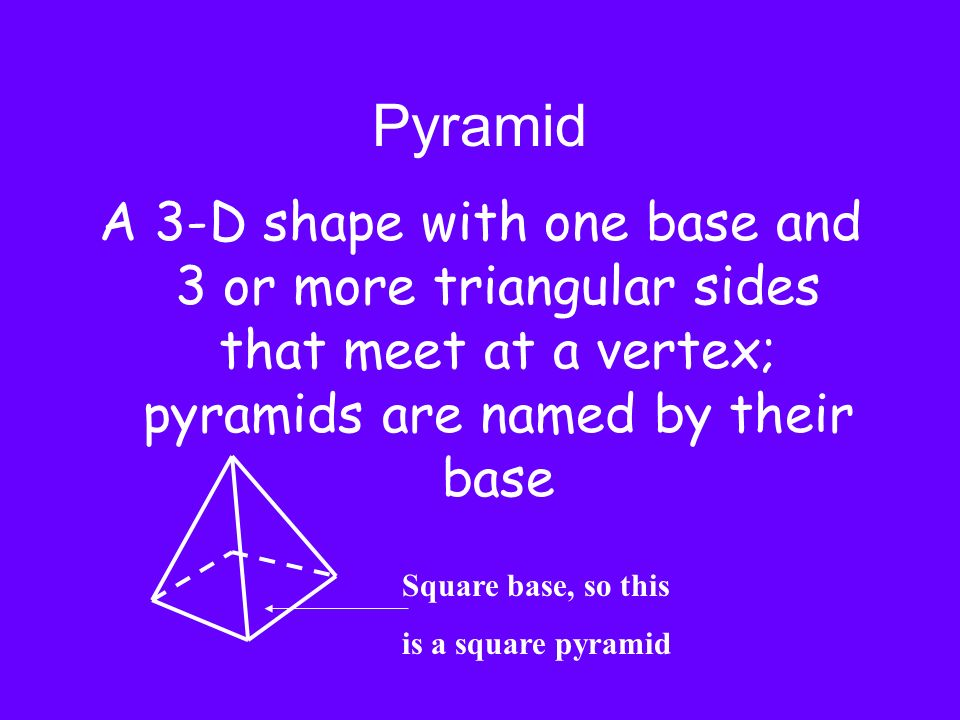 Pyramid A 3-D shape with one base and 3 or more triangular sides that meet at a vertex; pyramids are named by their base Square base, so this is a squ
