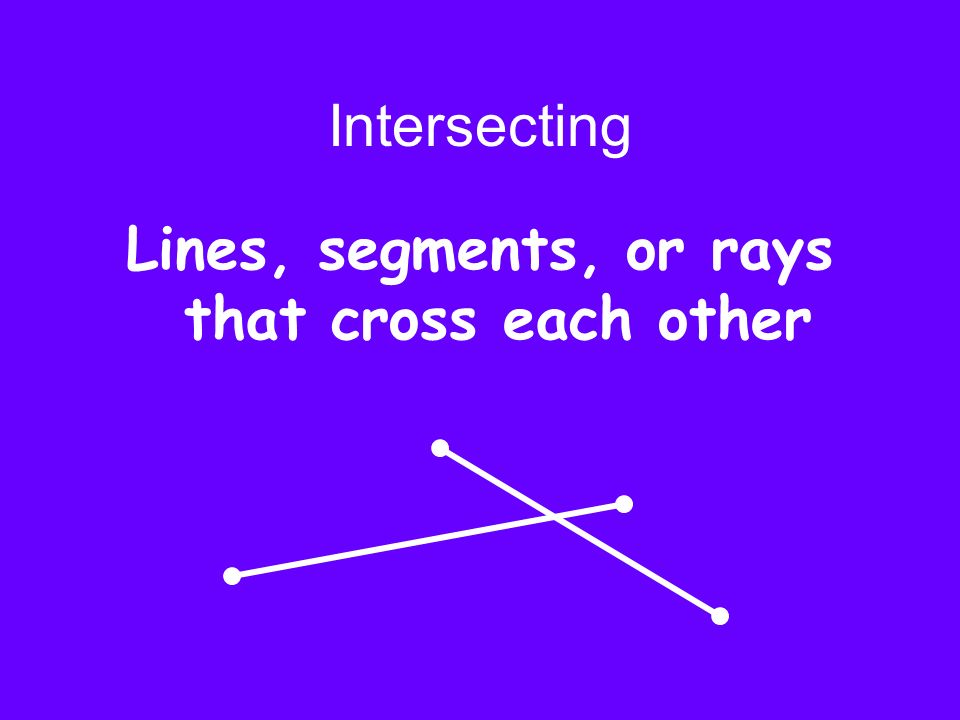 Intersecting Lines, segments, or rays that cross each other