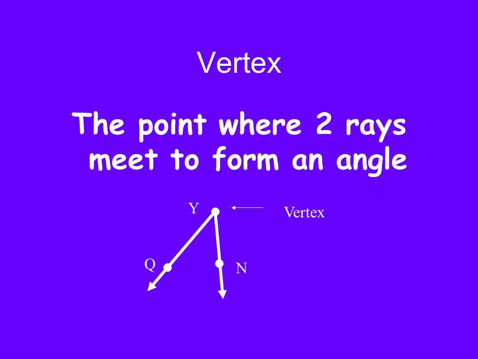 Vertex The point where 2 rays meet to form an angle Vertex Y Q N