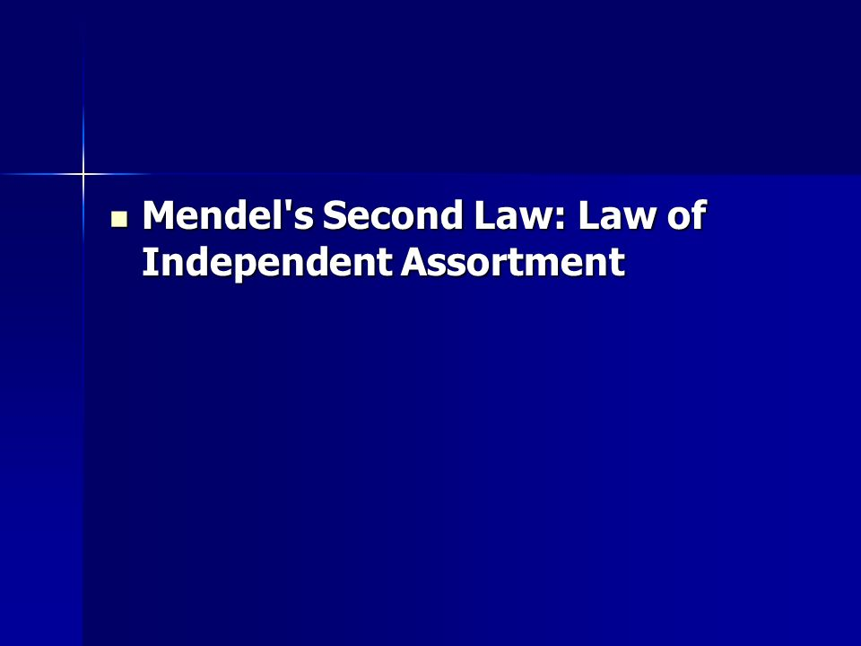 Mendel s Second Law: Law of Independent Assortment Mendel s Second Law: Law of Independent Assortment