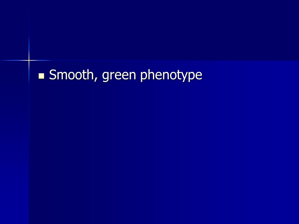 Smooth, green phenotype Smooth, green phenotype