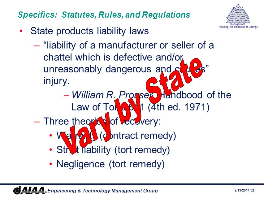 2/13/2014 31 Engineering & Technology Management Group Engineering Technology Management Tracking the Constant of Change Management History Society Legal Aspects LogisticsSupply Chain Systems Engineering Economics Risk Technical Information Multidiscipline Design Product Development Specifics: Statutes, Rules, and Regulations Federal Aviation Act of 1958 –49 U.S.C.