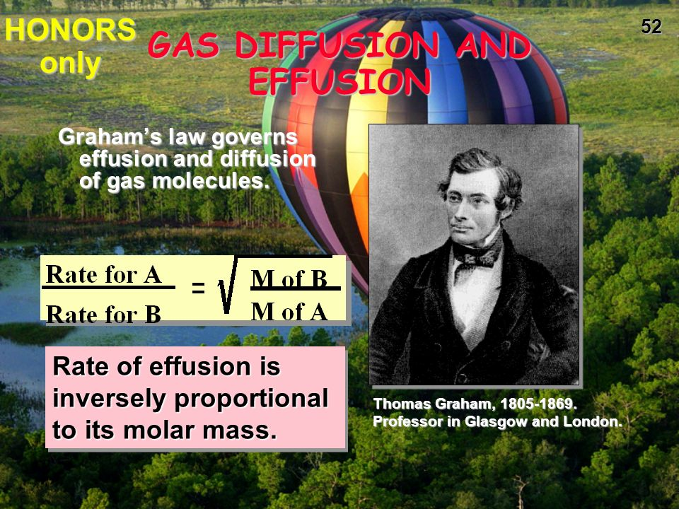 51 GAS DIFFUSION AND EFFUSION diffusion is the gradual mixing of molecules of different gases.diffusion is the gradual mixing of molecules of different gases.