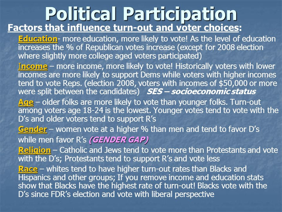 Political Participation Factors that influence turn-out and voter choices: Education Education- more education, more likely to vote! As the level of e