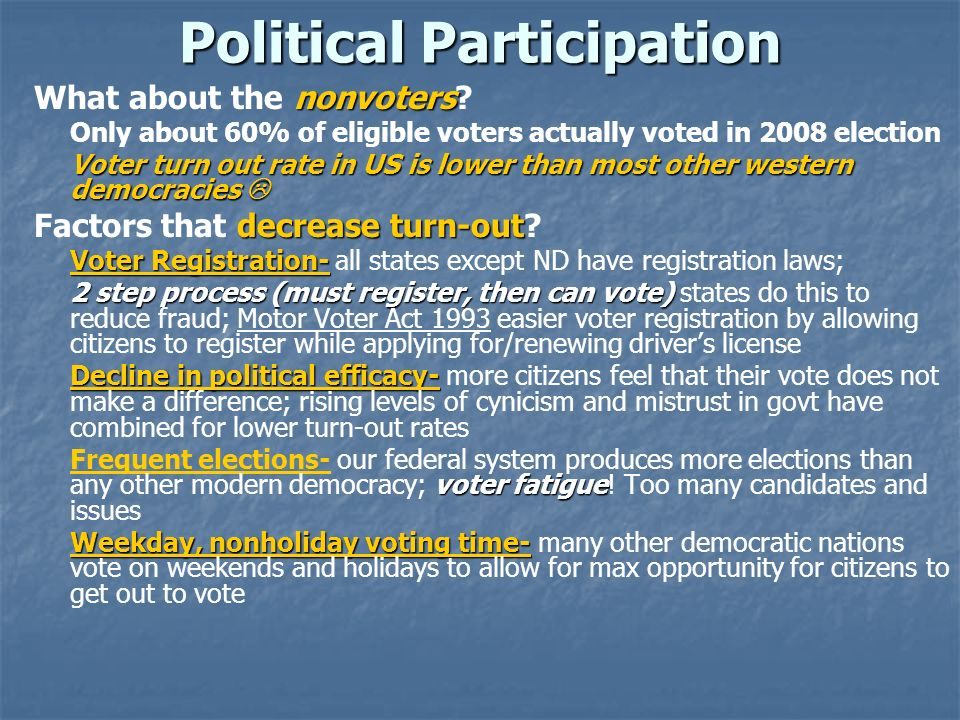 Political Participation nonvoters What about the nonvoters? Only about 60% of eligible voters actually voted in 2008 election Voter turn out rate in U