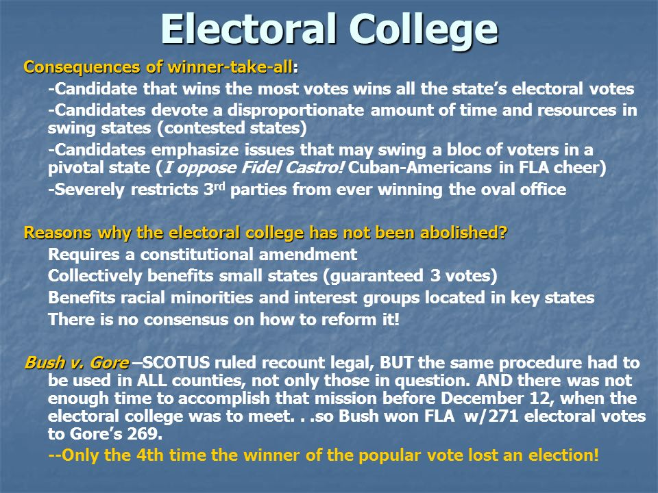 Electoral College Consequences of winner-take-all: -Candidate that wins the most votes wins all the states electoral votes -Candidates devote a dispro
