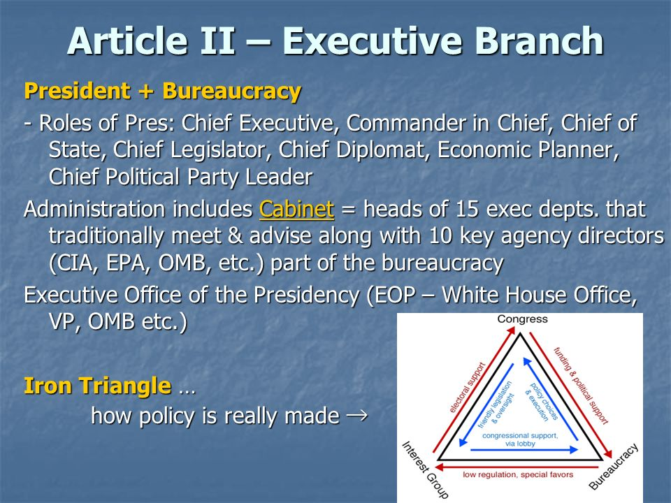 Article II – Executive Branch President + Bureaucracy - Roles of Pres: Chief Executive, Commander in Chief, Chief of State, Chief Legislator, Chief Di