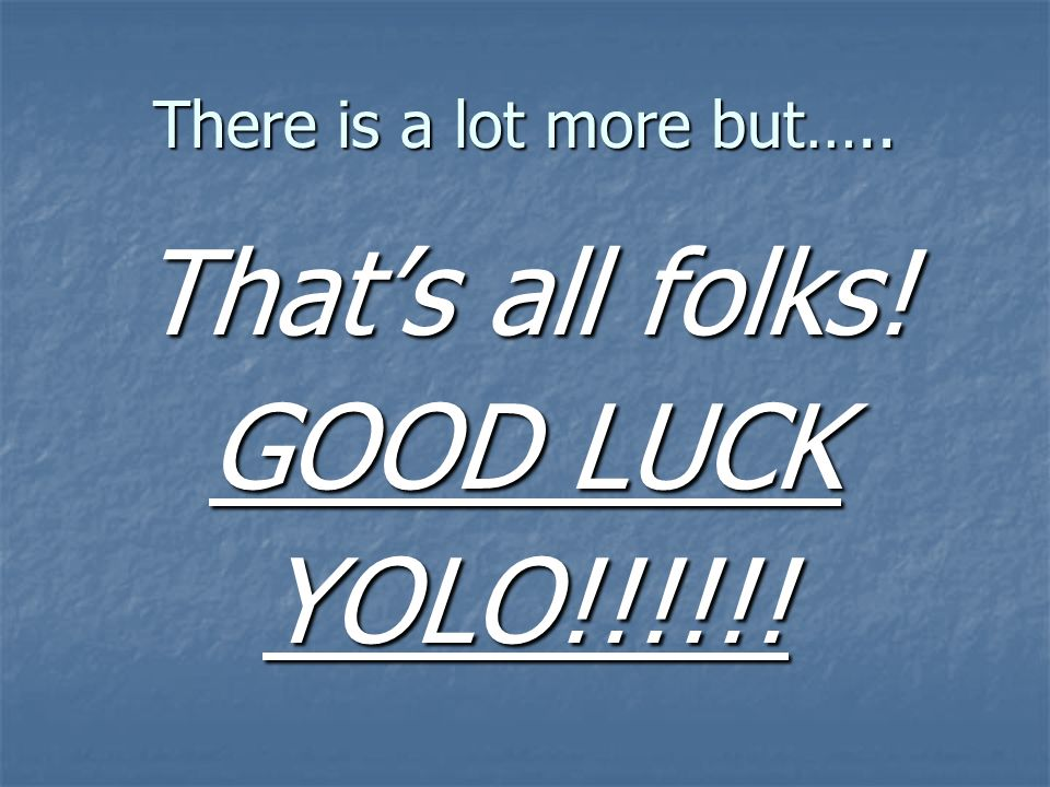 There is a lot more but….. Thats all folks! GOOD LUCK YOLO!!!!!!