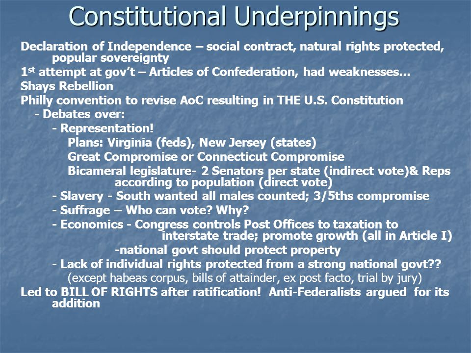 Constitutional Underpinnings Constitutional Underpinnings Declaration of Independence – social contract, natural rights protected, popular sovereignty